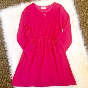 Everly Long Sleeve Pink Dress